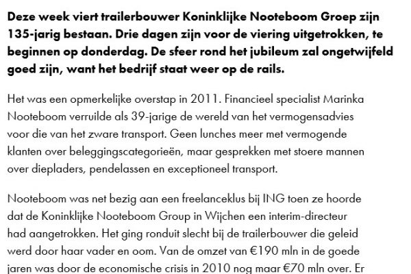 Artikel Marinka Nooteboom in Financieele Dagblad