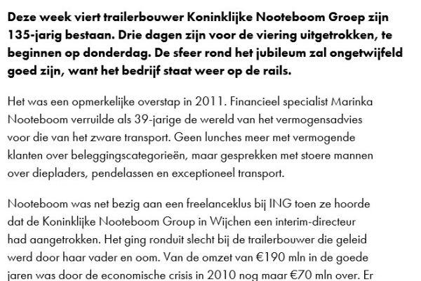 Artikel Marinka Nooteboom in Financieele Dagblad